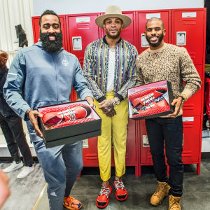 the best attitude ae7d1 a9ee6 The Rockets Take Over Giuseppe Zanotti for P.J. Tucker s Sneaker Launch. James  Harden ...