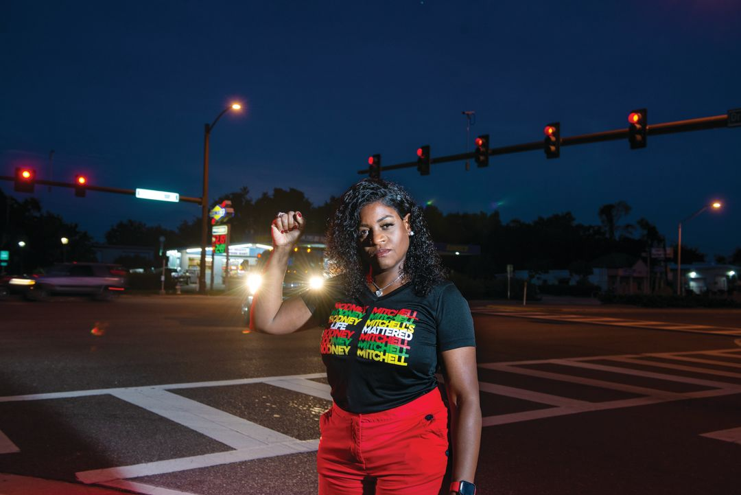 Natasha Clemons at the intersection of U.S. 301 where her son, Rodney Mitchell, was killed in a police altercation.
