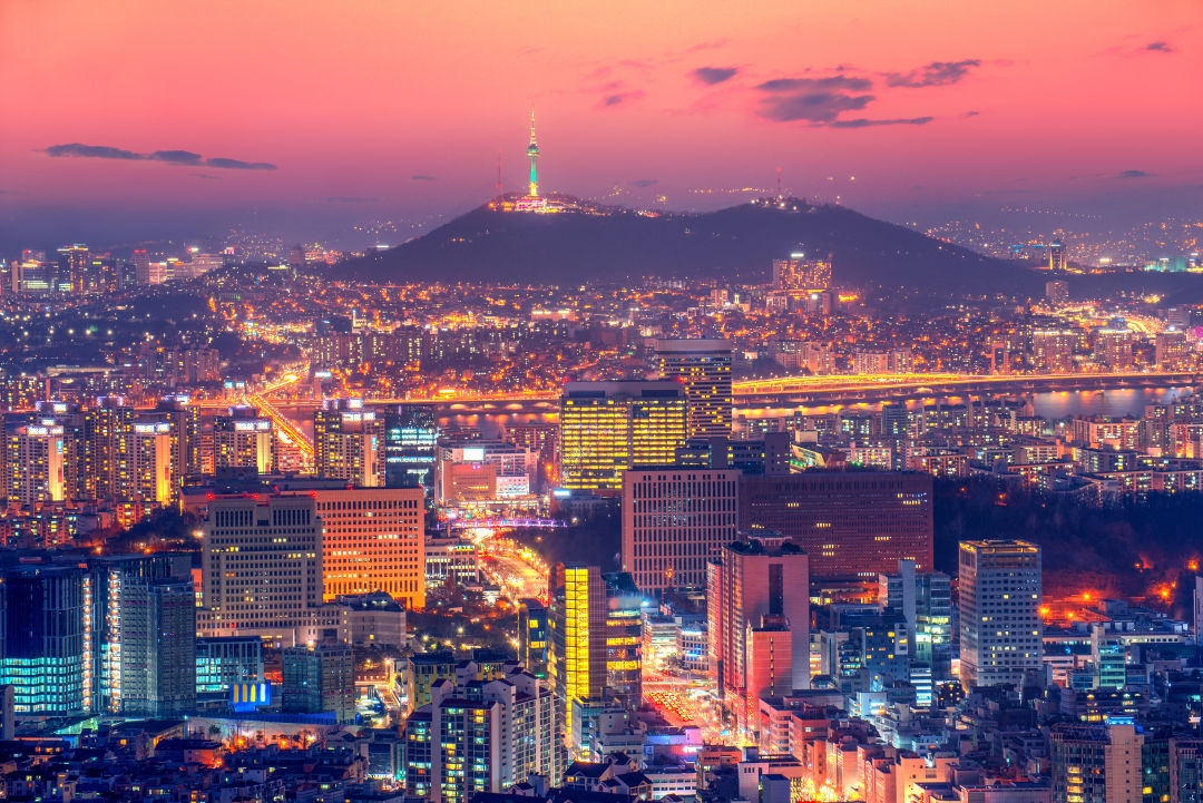 Skyline of Seoul, South Korea, with Seoul Tower