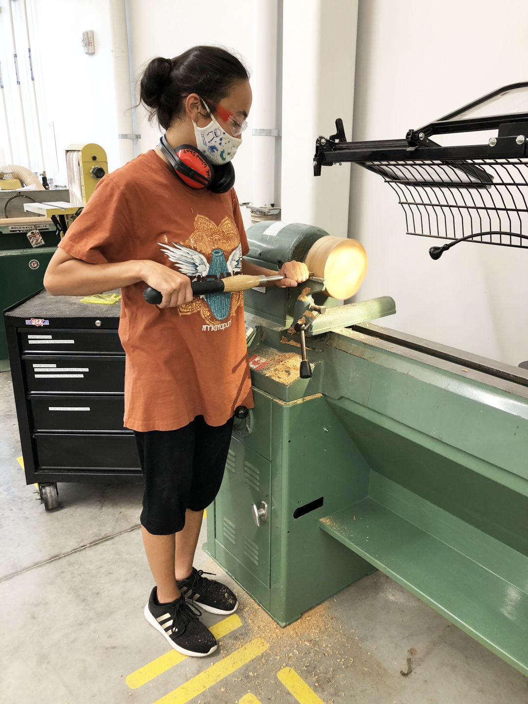 A student works in the Daniel E. Offutt III Wood Shop at Ringling College.