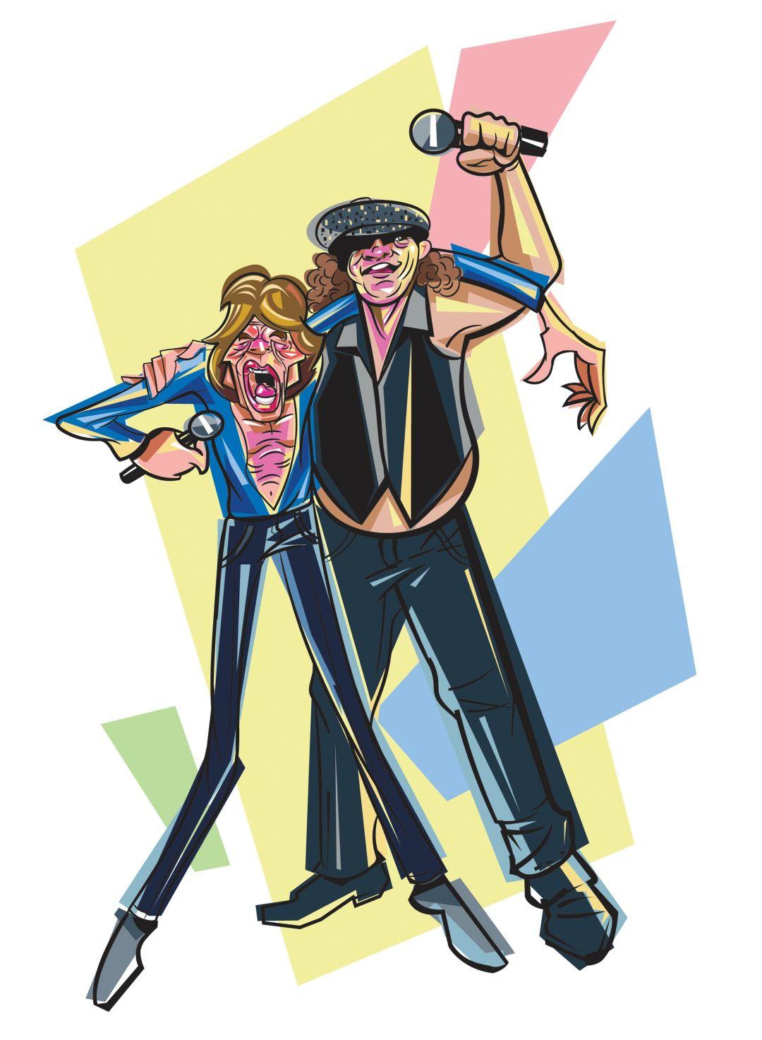 Mick Jagger and Brian Johnson