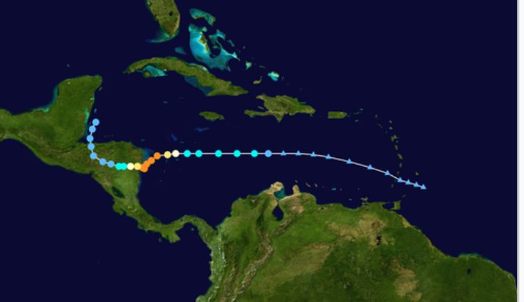 Hurricane Eta's path so far.