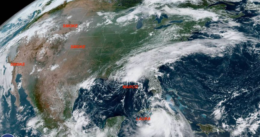 You can see Tropical Storms Marco and Laura, plus smoke from the Northern California wildfires, in this NOAA satellite image.