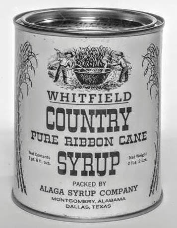 Can of whitfield country pure ribbon cane syrup packed by the alaga syrup company in montgomery alabama  1  gofseo