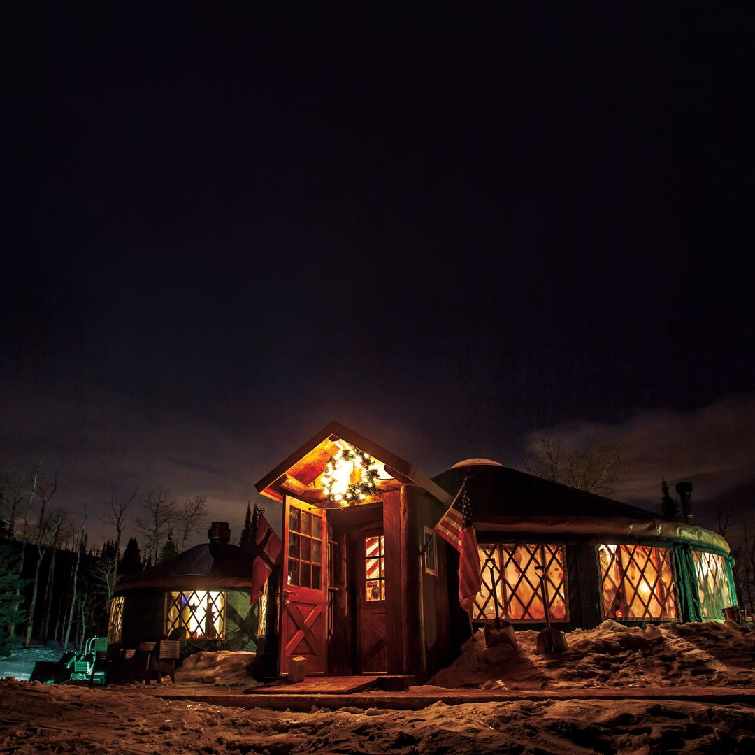 Park city winter 2013 after dark in the park yurt city fwgvzk