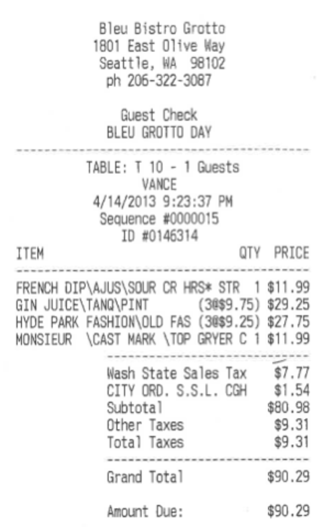 Seattle Tax Rate >> Bleu Bistro Charging 1.9 Percent Sick Leave Surcharge ...