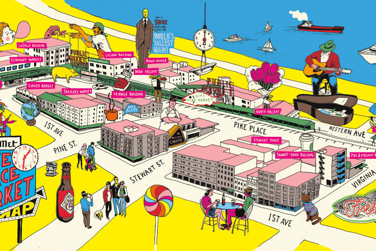 Pike place market illustrated map plvtpt