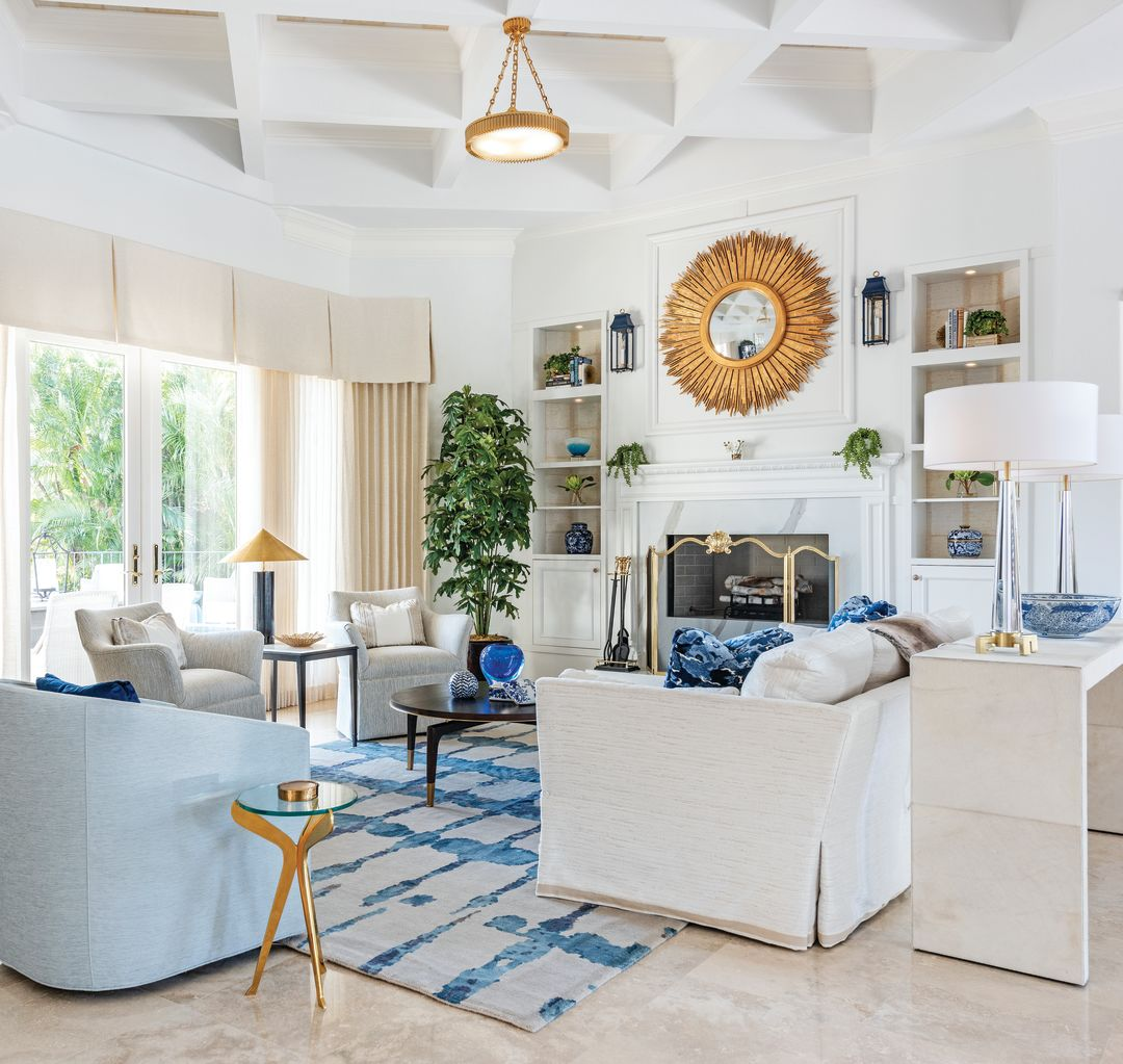 Barbara Gardner of Collins Interiors transformed a dated single-family villa into a light, bright, family-friendly retreat for a New York couple and their adult children.
