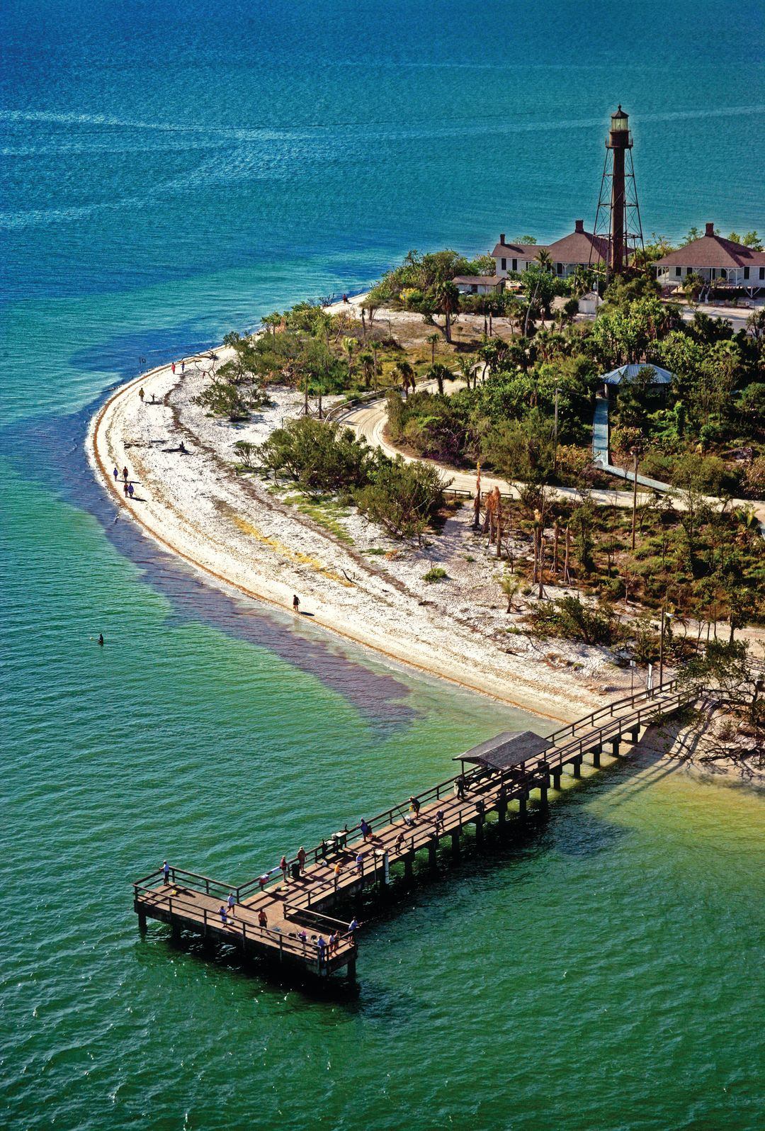 Sanibel lighthouse pier aerial wqo4lc
