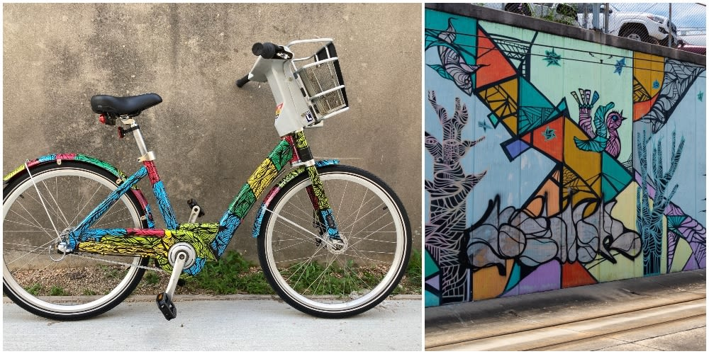 A painted bike and a mural.