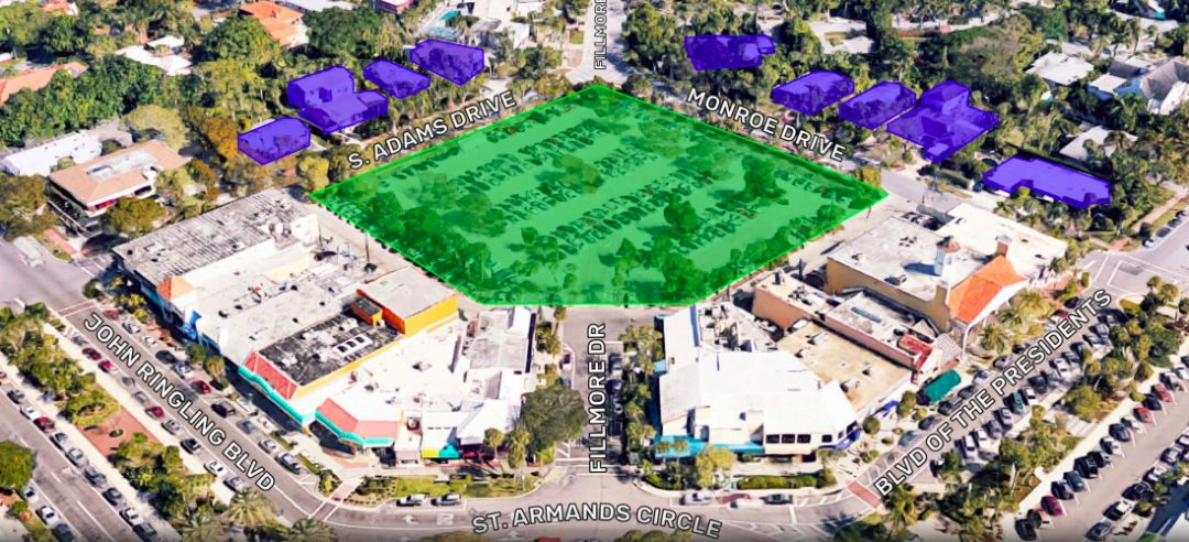 Developers propose to build a hotel, grocer and townhomes on the current Fillmore parking lot on St. Armands Circle.