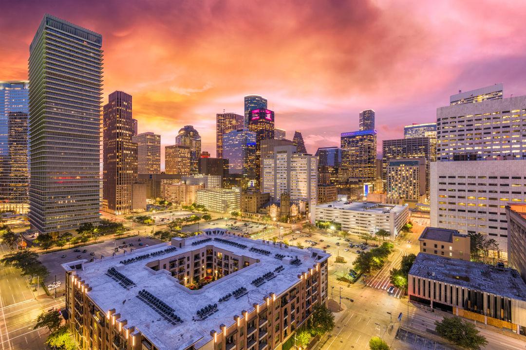 Houston skyline at sunset.