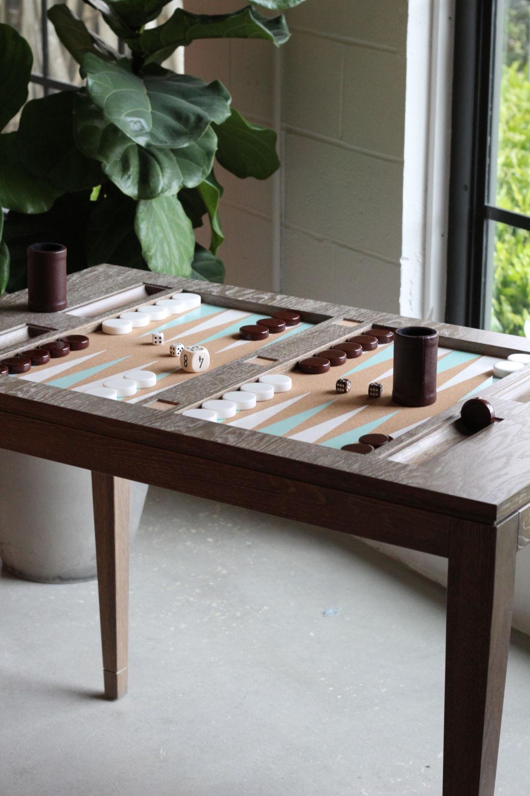 Backgammon driftwood table xiiy9f