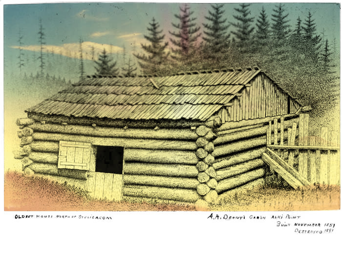 Arthur dennys cabin at alki point ca 1902 flat quny3a