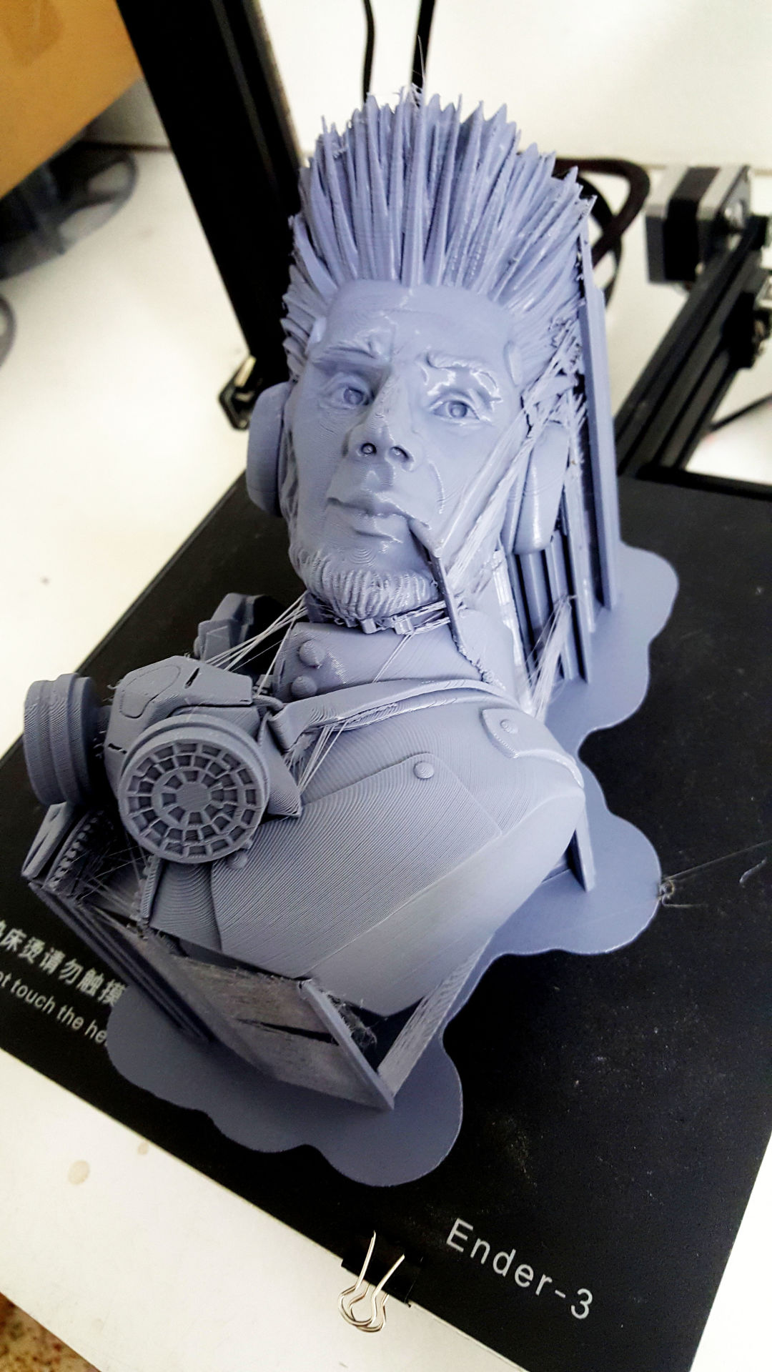 """Steve,"" a custom character bust, on the 3D printer."