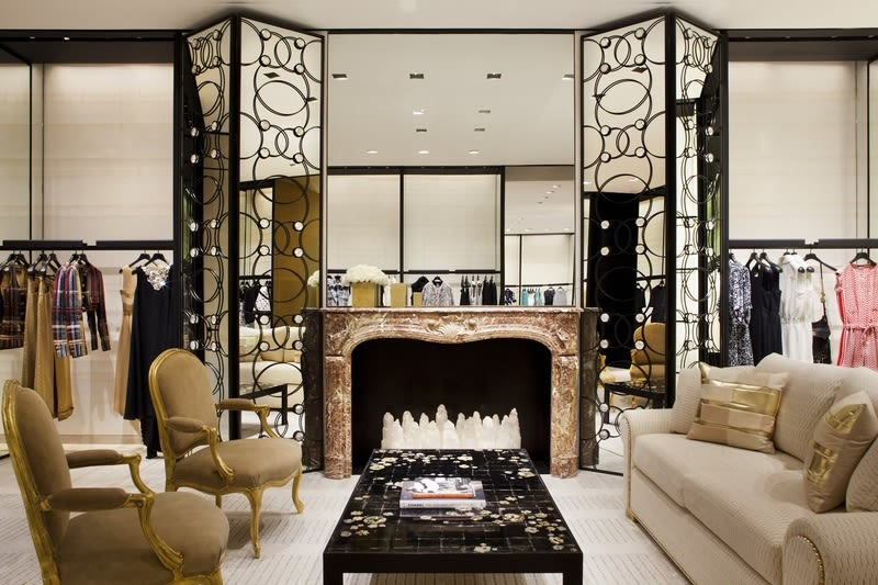 Chanel houston boutique ready to wear salon with fireplace 174309 exc1wh
