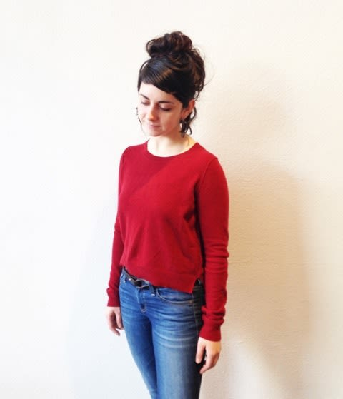 a9807b5e82d A deliciously soft red cashmere sweater with a split hem detail. A great  winter look with jeans.  242.