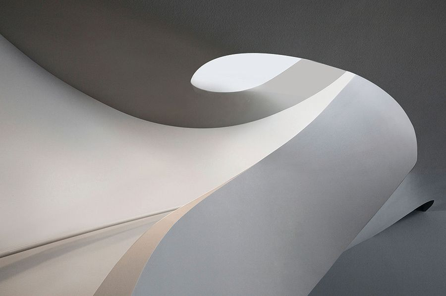 The nautilus shell-inspired staircase in Abbott's new Casey Key project.