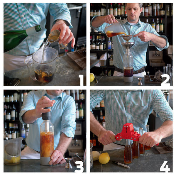 Bartender bottling cocktail yr0bjb