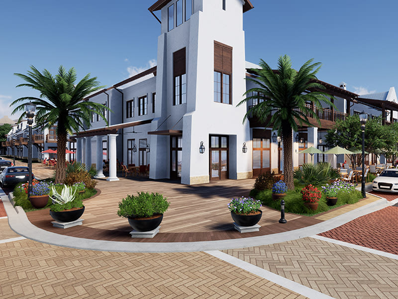 A rendering of the town center at Waterside Place