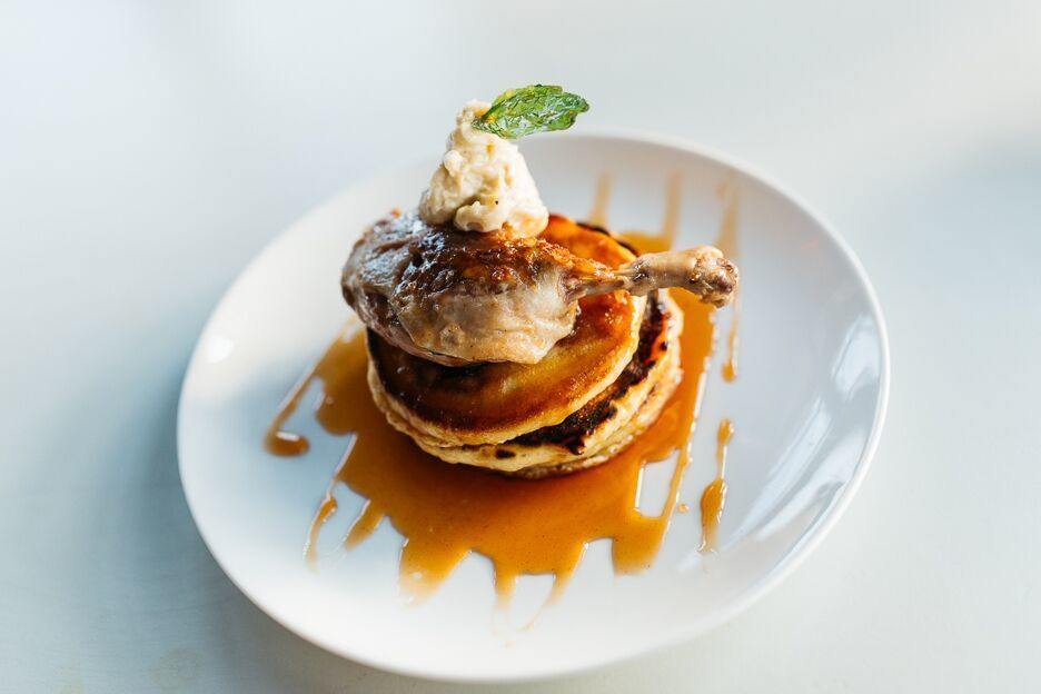 Duck and pancakes a0a9k2