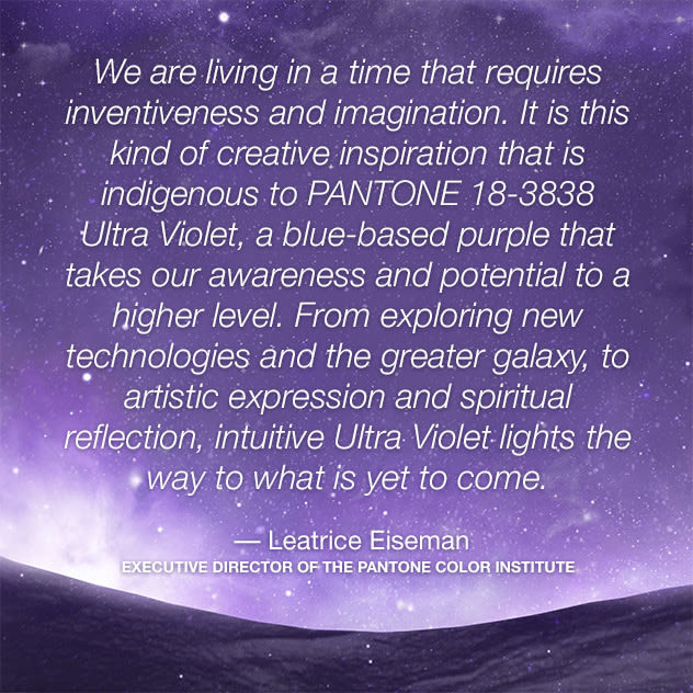 Pantone color of the year 2018 ultra violet lee eiseman quote kcka6i