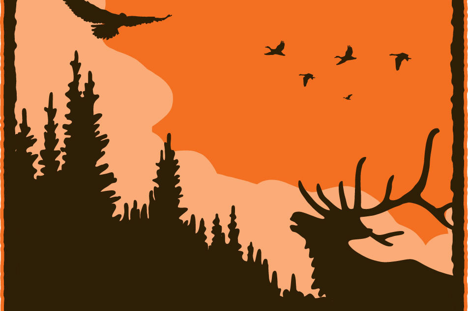 Elk bird tree silhouette orange n6mkni