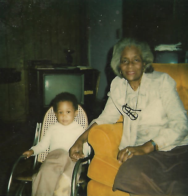 The author of this story as a baby with her grandmother.