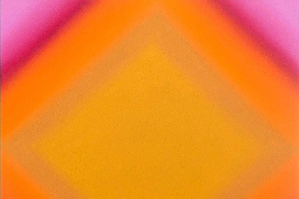 Matter of light 2 s4848  red green magenta ochre   matter of light series  2016  oil on canvas custom beveled stretcher  48 x 48 x 3 inches  copy megjej