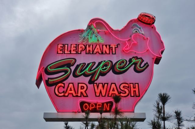 Pink Elephant Car Wash sign