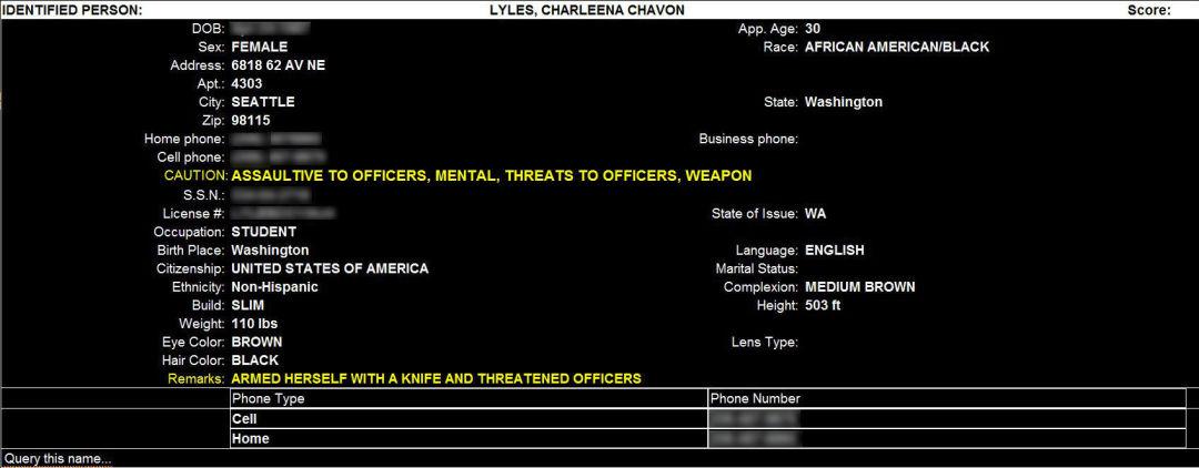 Charleena lyles police hazard info caution fpeocb