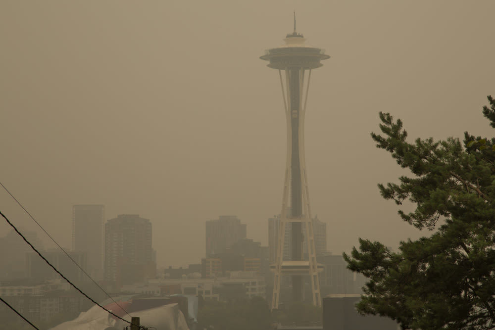 The Space Needle in wildfire smoke