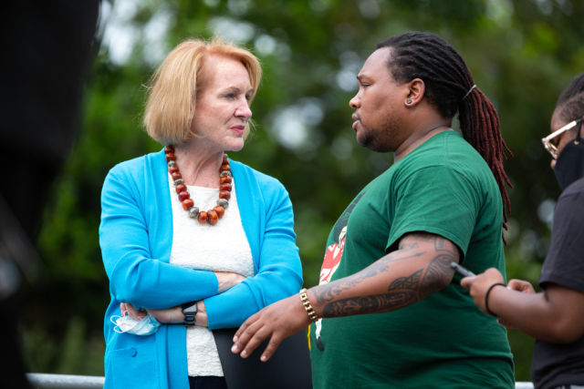 Mayor Jenny Durkan listening