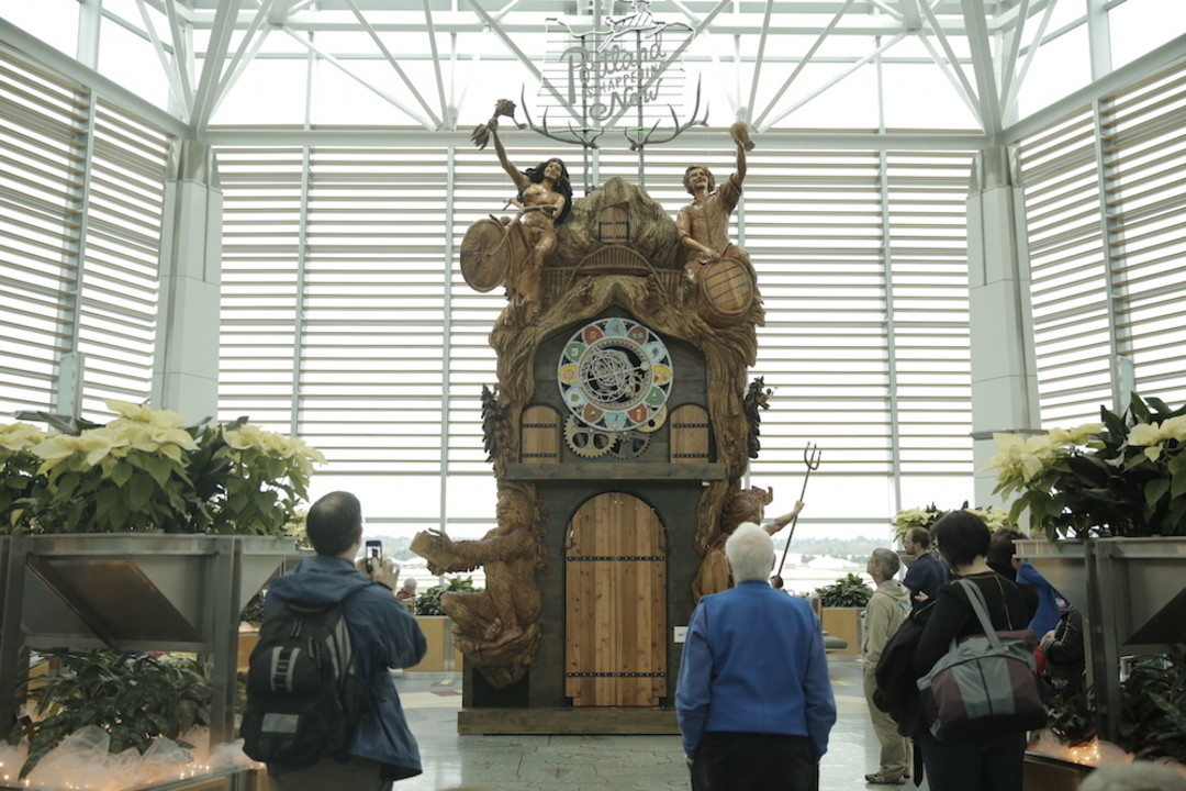 Nation S Tallest Cuckoo Clock Now At Portland Airport