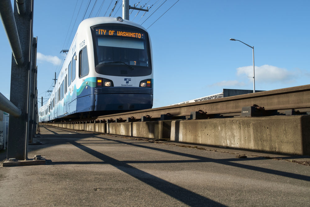Link light rail car moving north