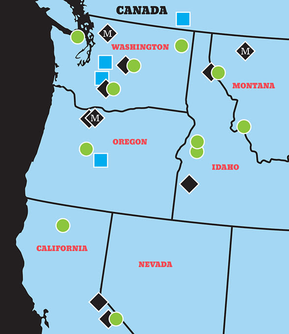 Locations of ski resorts affiliated with Indy Pass (green circles), Ikon Pass (blue squares), or season pass perks from Timberline (black diamonds) and Mt Hood Meadows (black diamonds with M)