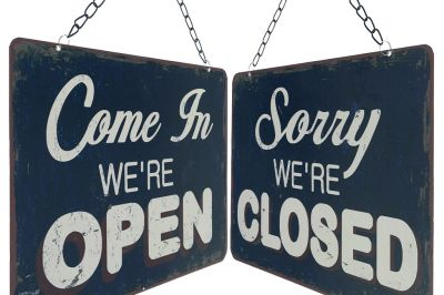 Double sided open close shop door sign j7yxfz