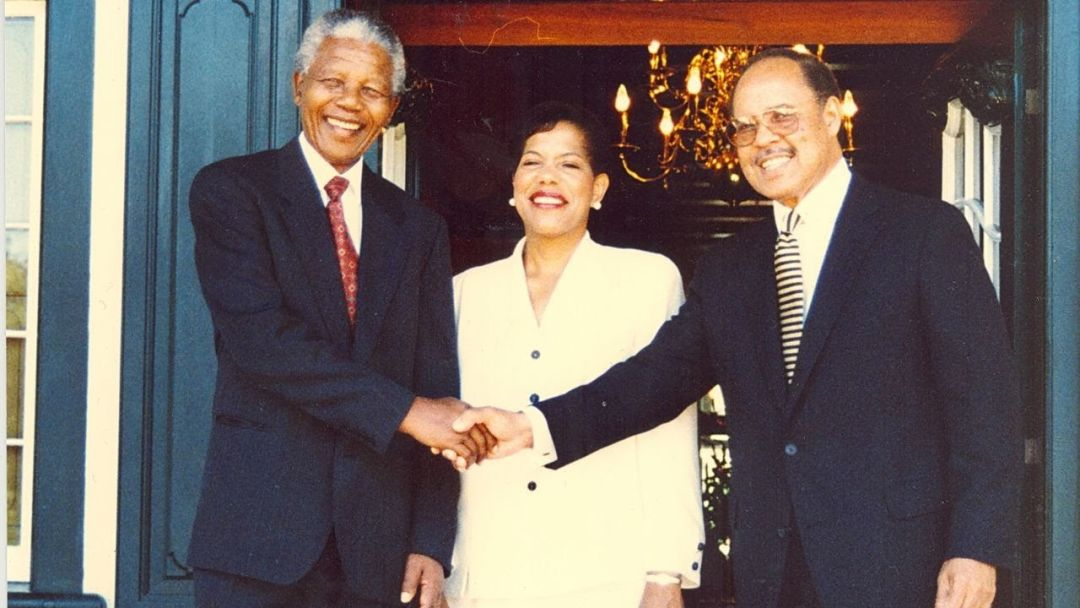 President Nelson Mandela, Mary Braxton-Joseph, and Ambassador James A. Joseph in February 1996.