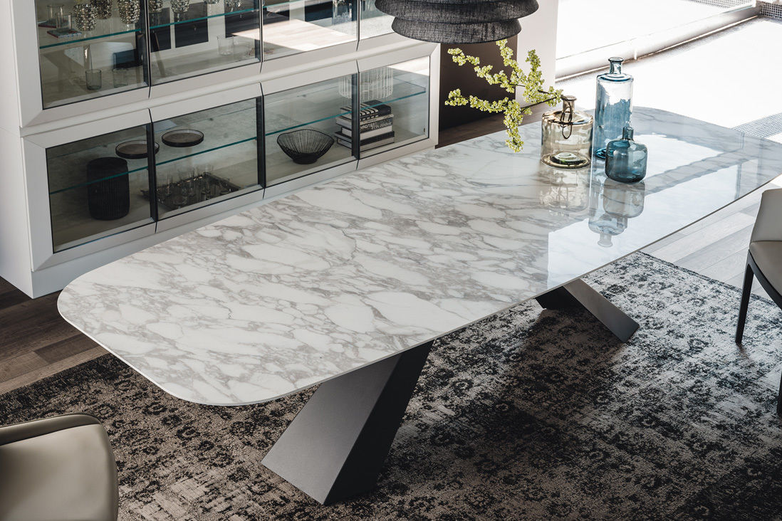 Marble dining table soft square dmovvi