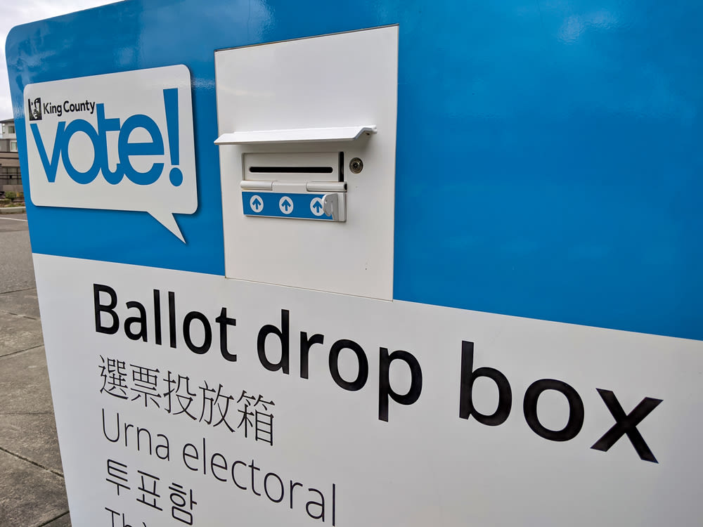 A King County ballot drop box