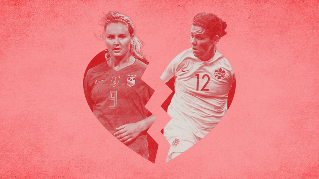 Lindsey Horan of Team USA and Christine Sinclair of Team Canada pictured in a divided heart.