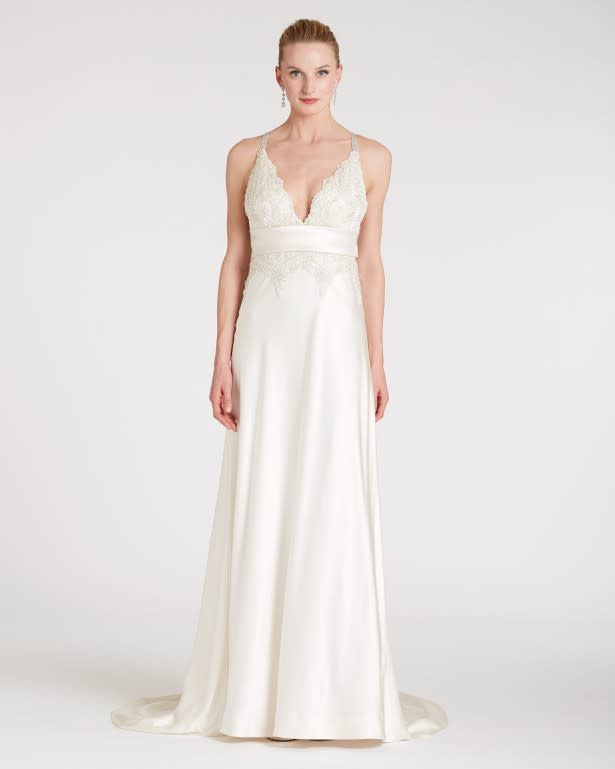 Lyb d115 luly yang diamond mon amour metallic lace crystal strap bias gown 29342 front vwdebi