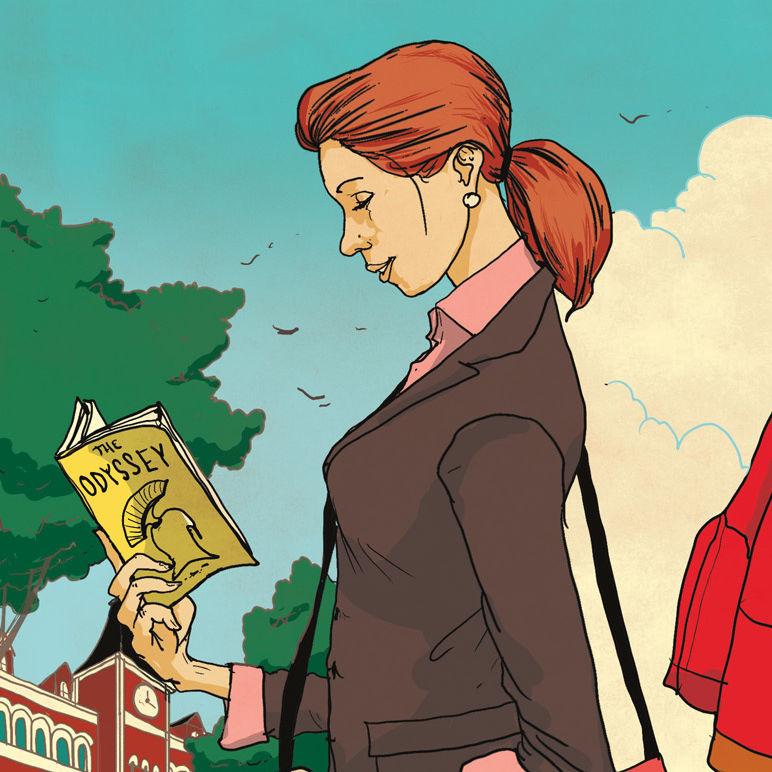 Pomo 1216 adult ed women reading illustration qancap