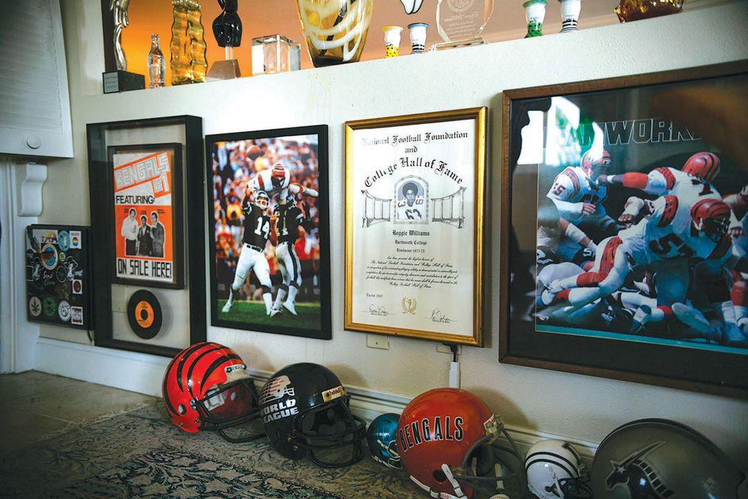 Reggie Williams' wall of memorabilia in his downtown Sarasota home