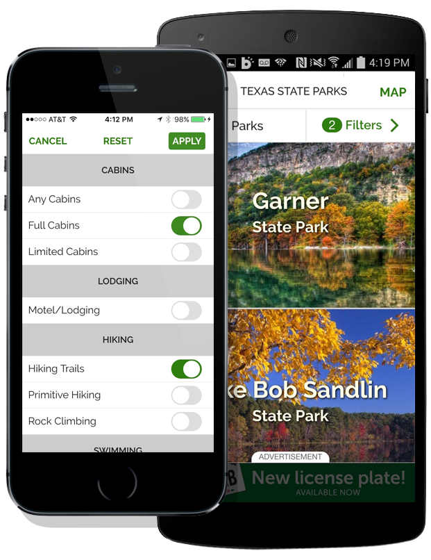 State parks app devices iphone android two up awfrtz