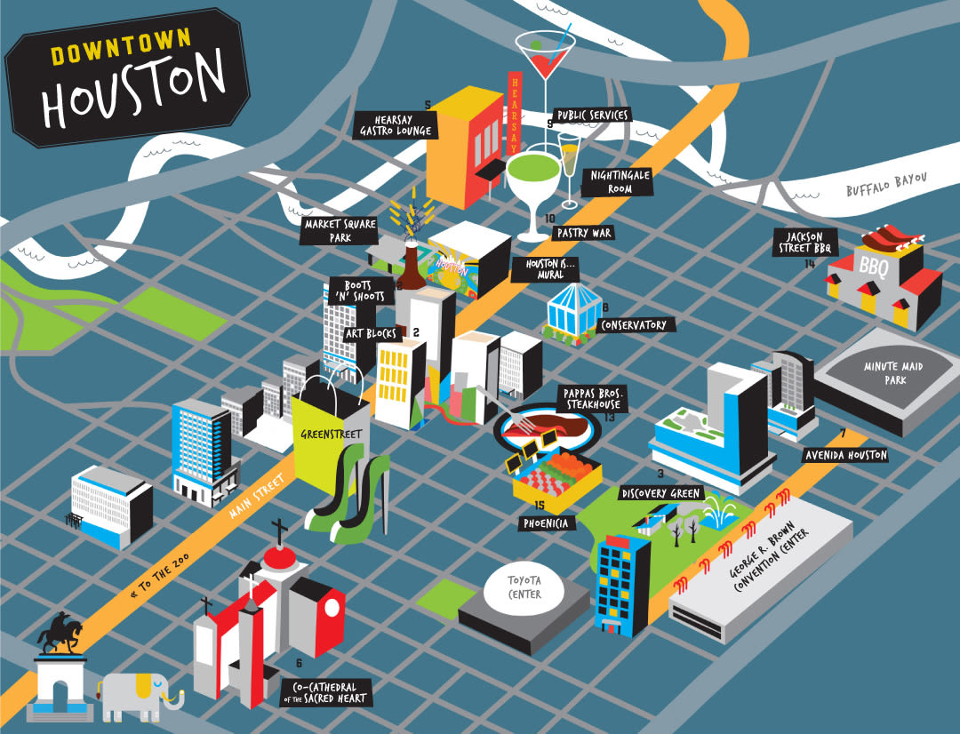 The Locals Guide To Super Bowl Houston Houstonia - Map of houston hotels downtown
