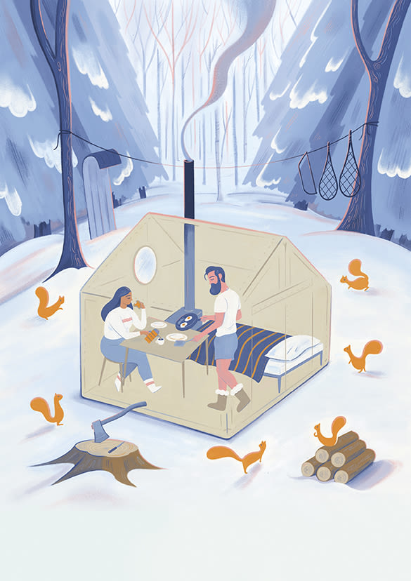 A snow camping scene