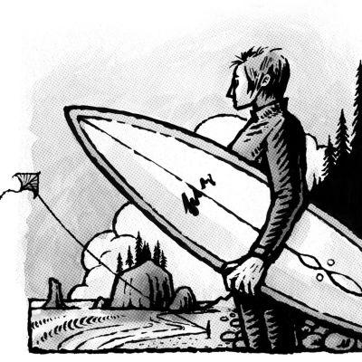 Surfer kite illustration islcbl