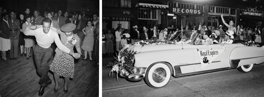 A cadillac on jackson street displays the royal esquires banner during the international festival parade in 1950 z2bpgg