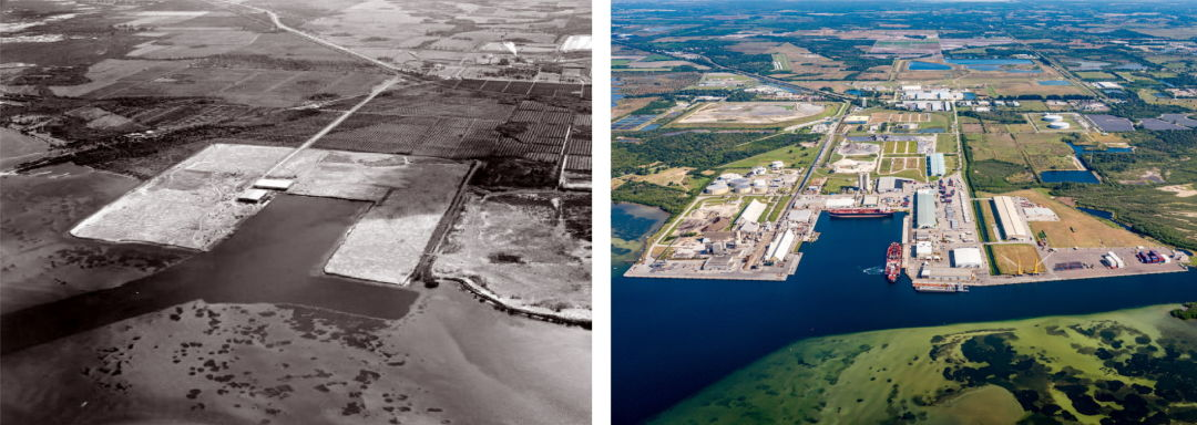 Port Manatee in 1970, left, and today.